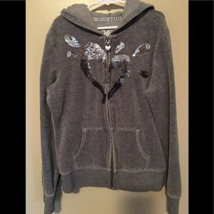 Justice Grey Velour Hoodie Size 14